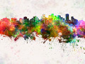 Edmonton skyline in watercolor background - PhotoDune Item for Sale
