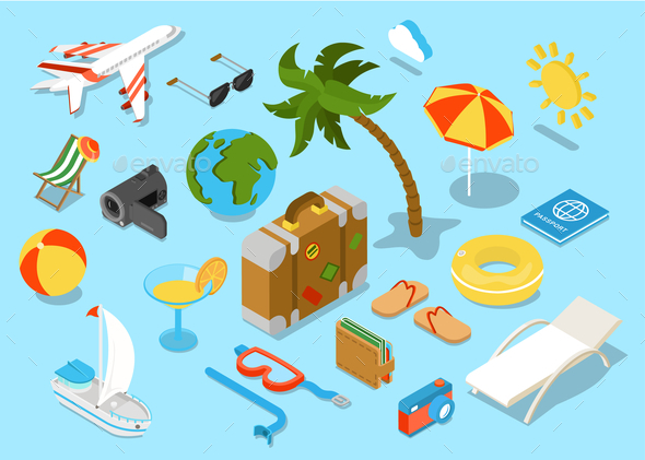 GraphicRiver Flat 3D Isomectric Travel Objects Icon Set 10789432
