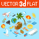 Flat 3d Isomectric Travel Objects Icon Set - GraphicRiver Item for Sale