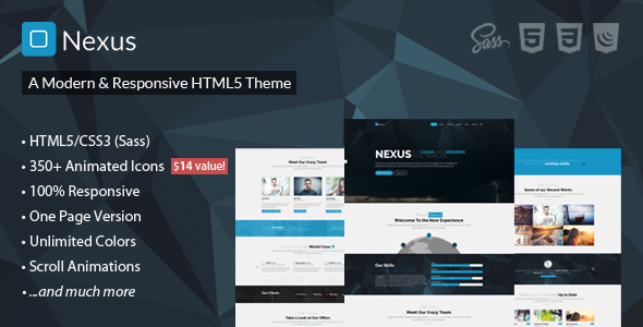 ThemeForest Nexus Responsive Multipurpose HTML5 Template 10789597