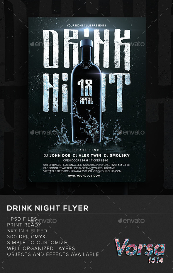 GraphicRiver Drink Night Flyer 10789730