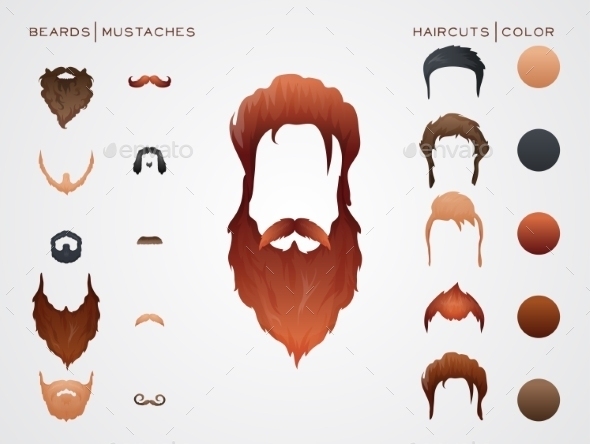 GraphicRiver Beards and Mustaches 10789828