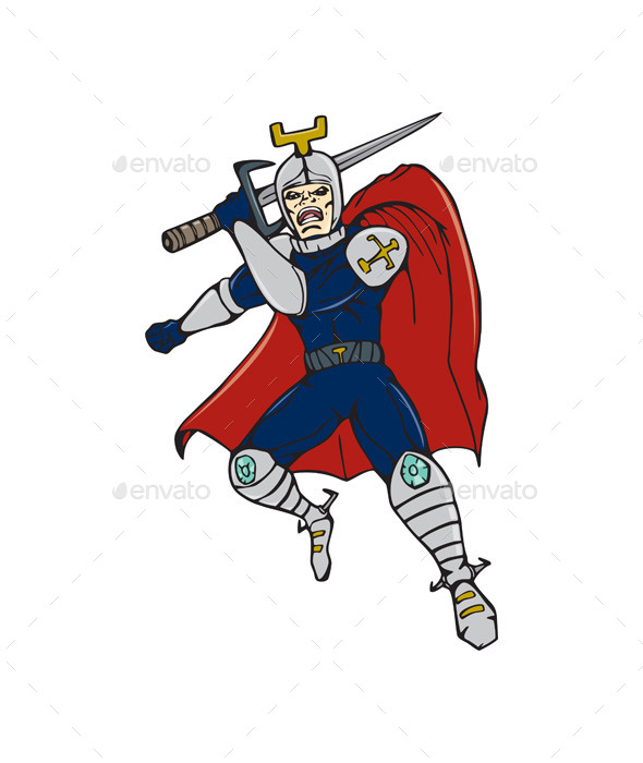 GraphicRiver Knight Brandishing Sword Cartoon 10790161