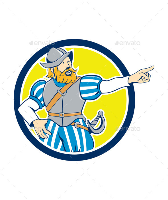 GraphicRiver Spanish Conquistador Pointing Cartoon Circle 10790243