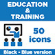 Education & Training Icons (Black - Blue version) - GraphicRiver Item for Sale