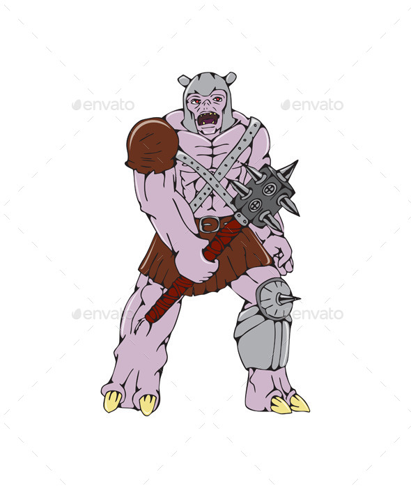 GraphicRiver Orc Warrior Holding Club Front Cartoon 10790276