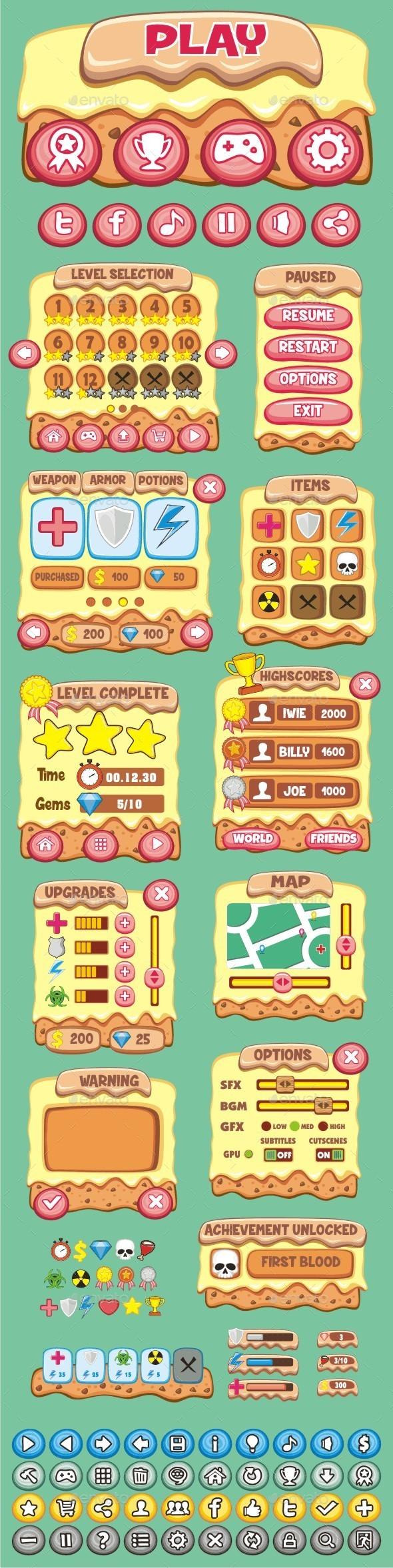 GraphicRiver cartoon game gui pack 22 10790696