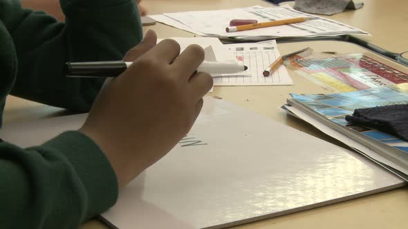 Grammar School Student Using Magic Markers 7 Of 8