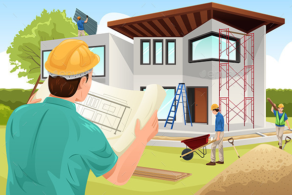 GraphicRiver Architect Working at the Construction Site 10792234