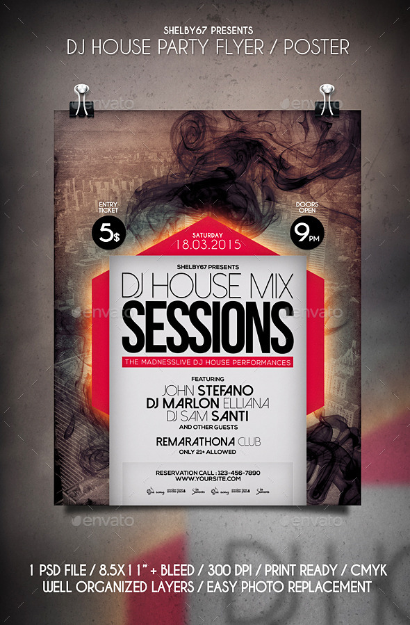 GraphicRiver DJ House Party Flyer Poster 10698607