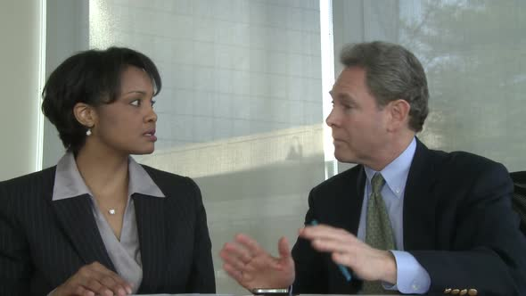 Male And Female Colleagues Exchange Ideas 2 Of 2