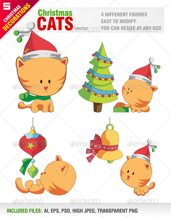 Cute Cats with Christmas Objects