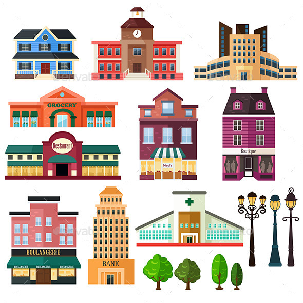GraphicRiver Buildings and Lamp Posts 10792648