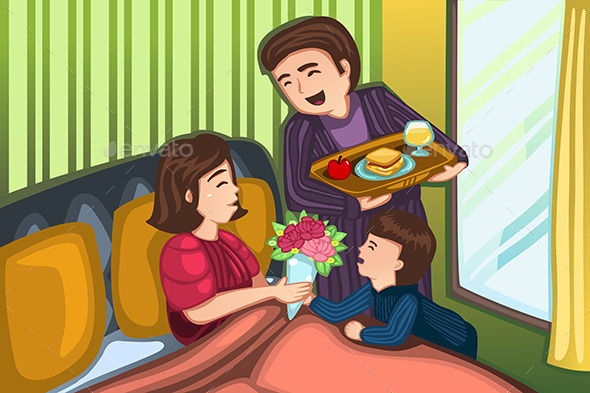 GraphicRiver Mothers Day Breakfast in Bed 10792781
