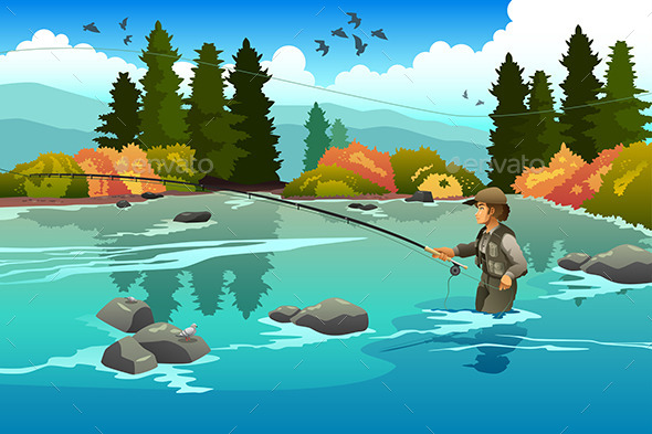 GraphicRiver Man in a River 10792792