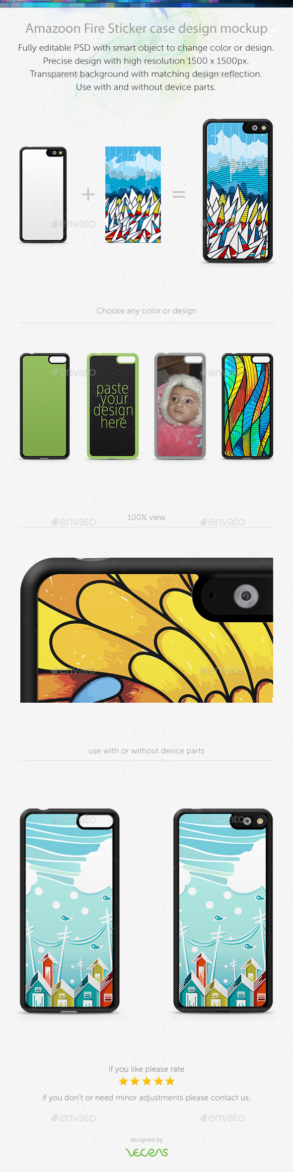 GraphicRiver Amazoon Fire Sticker Case Design Mockup 10793799