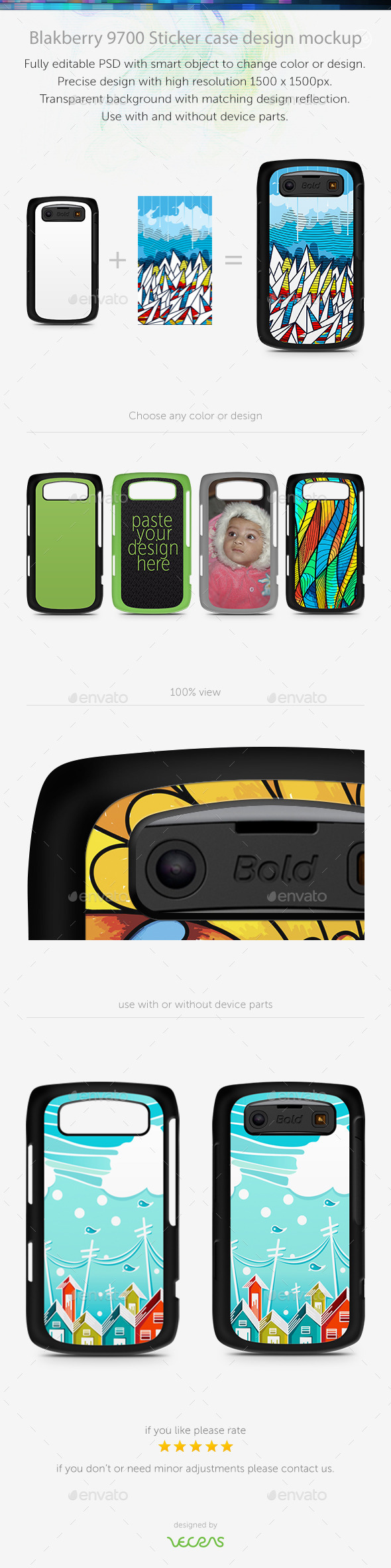 GraphicRiver Blakberry 9700 Sticker Case Design Mockup 10793890