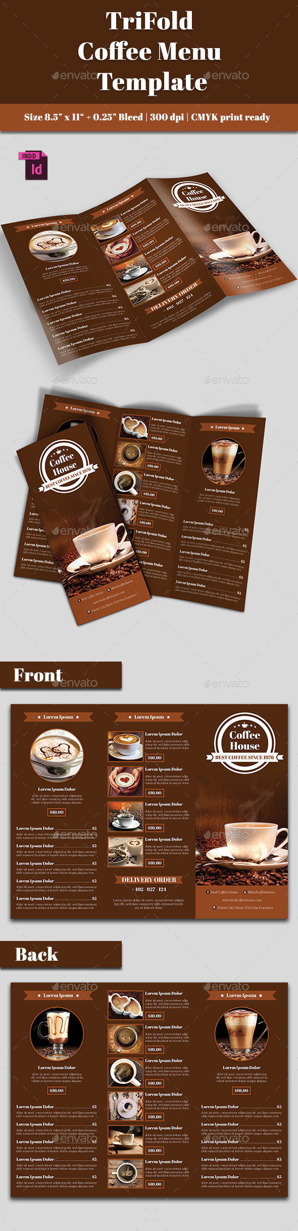 GraphicRiver TriFold Coffee Menu 10794145