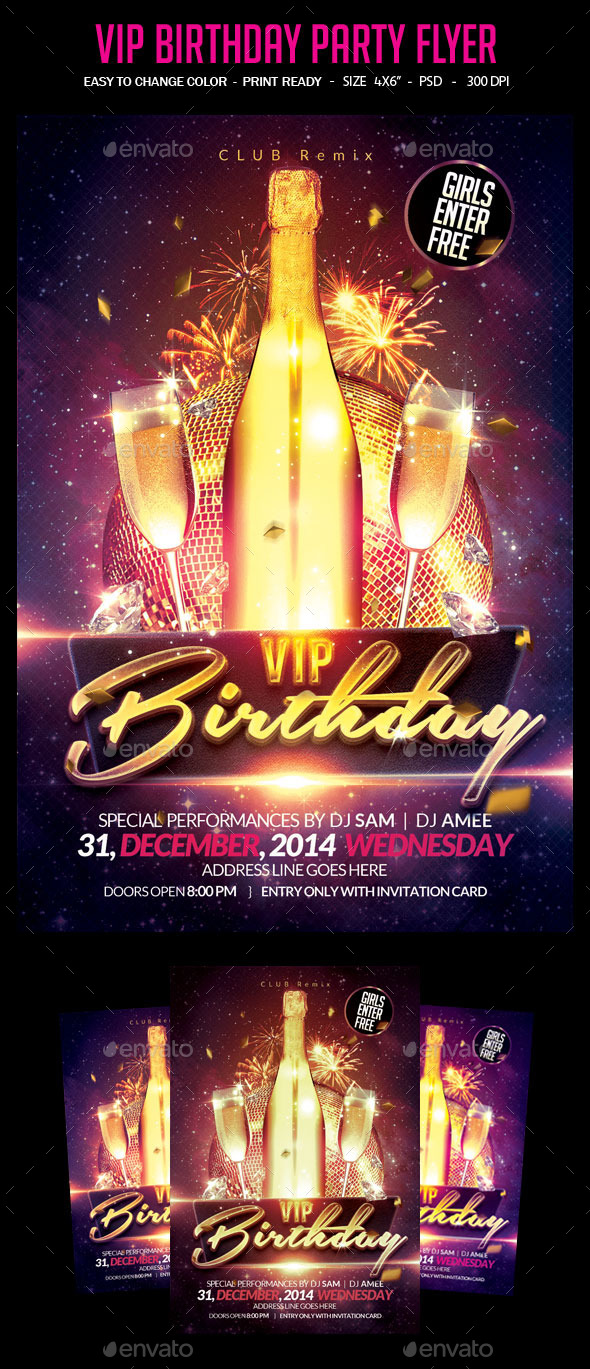 GraphicRiver VIP Birthday Party Flyer 10794333