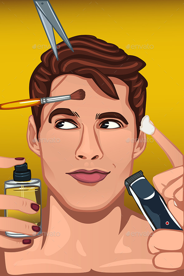 GraphicRiver Man Applying Various Beauty Products 10794337