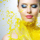 Beautiful girl and yellow paint splashes - PhotoDune Item for Sale