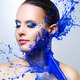 Beautiful girl and blue paint splashes - PhotoDune Item for Sale