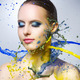 Beautiful girl and colorful paint splashes - PhotoDune Item for Sale