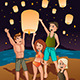 Young People Releasing Paper Lanterns - GraphicRiver Item for Sale