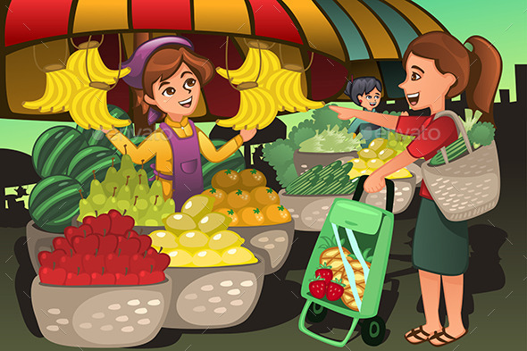 GraphicRiver Fruit Seller in a Farmer Market 10794447
