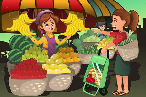 GraphicRiver Fruit Seller in a Farmer Market 10794447