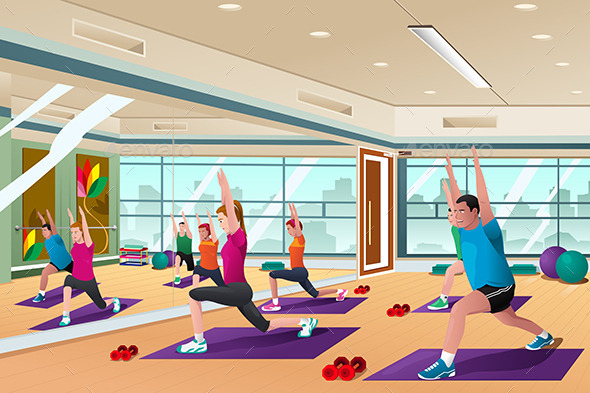 GraphicRiver Men and Women in a Yoga Class 10794452