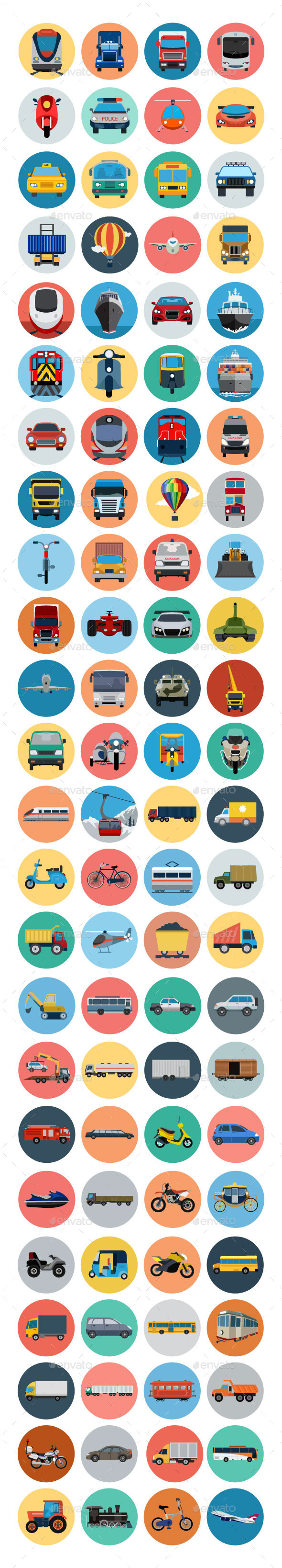 GraphicRiver 90& Transport Flat Icons 10794868