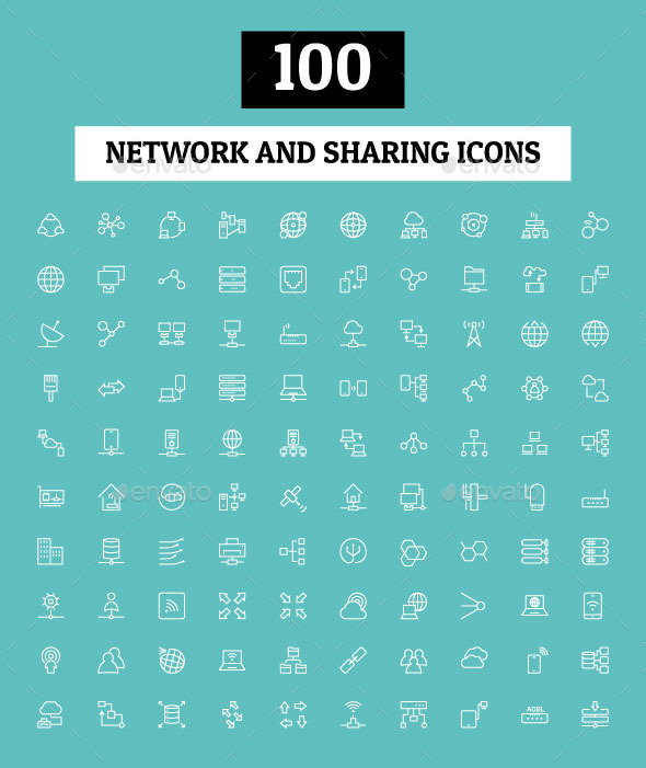 GraphicRiver 100 Network and Sharing Icons 10794882