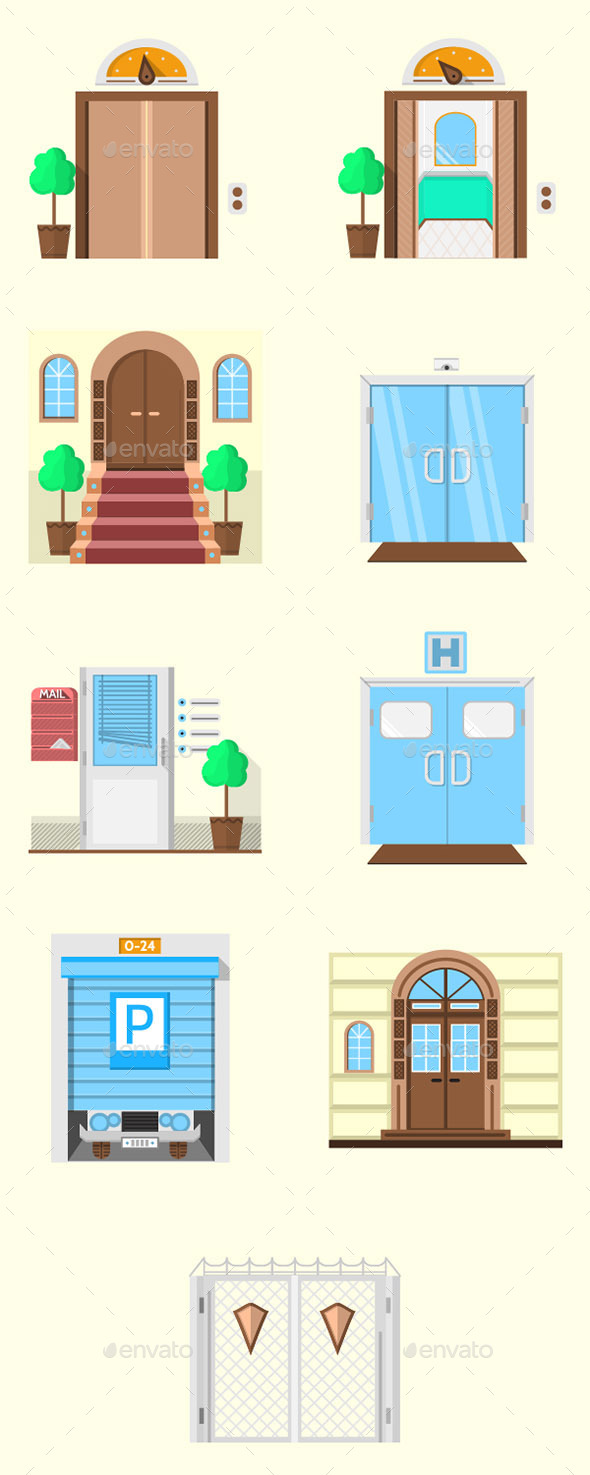 GraphicRiver Stylized Door Icons 10795285