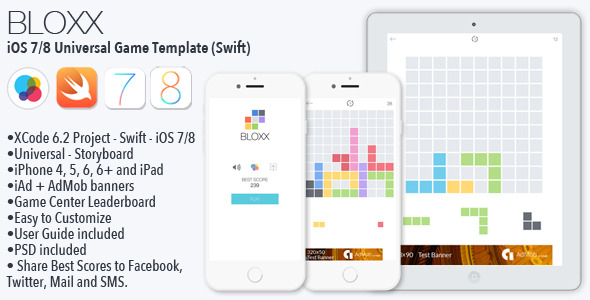 CodeCanyon BLOXX iOS 7 8 Game Universal Template Swift 10795460