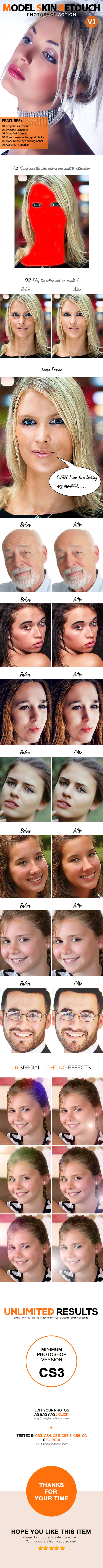GraphicRiver Model Skin Retouch V1 Photoshop Action 10795644