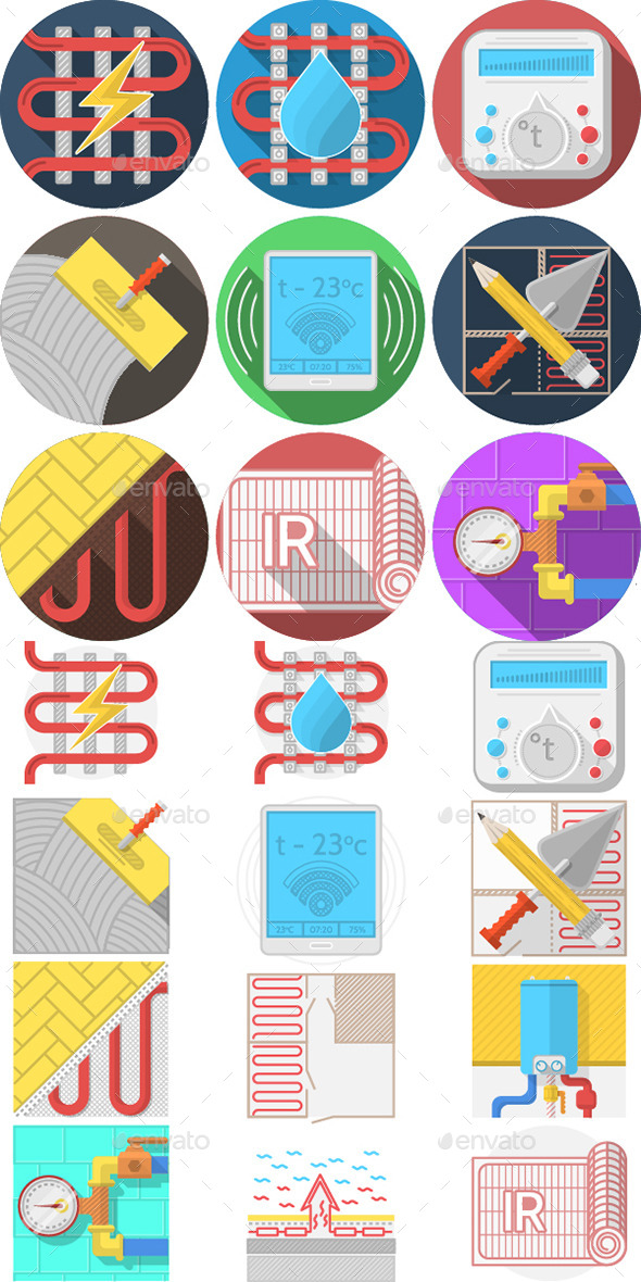 GraphicRiver Heated Floor Icons 10795729