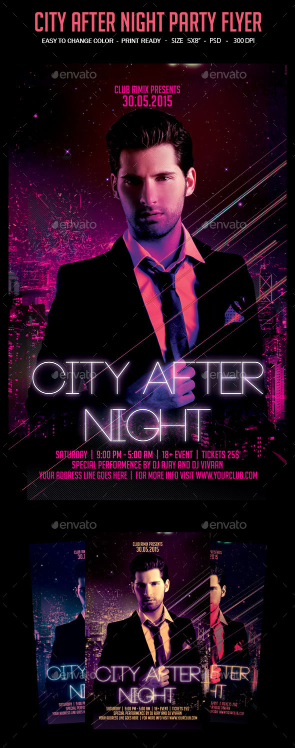 GraphicRiver City After Night Party Flyer 10795873