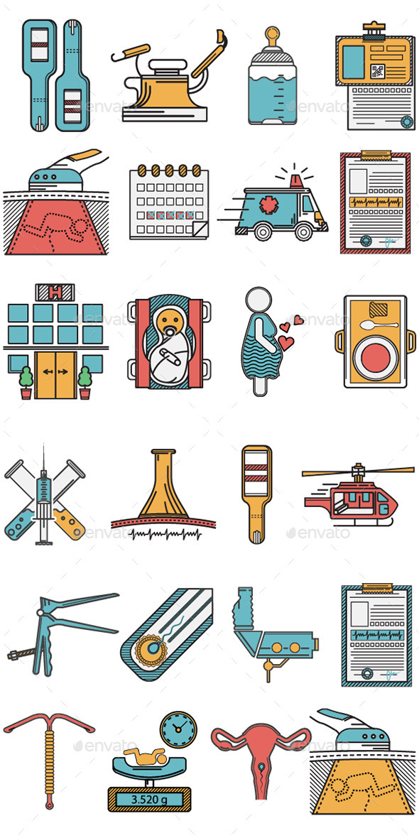 GraphicRiver Gynecology Icons Set 10795903