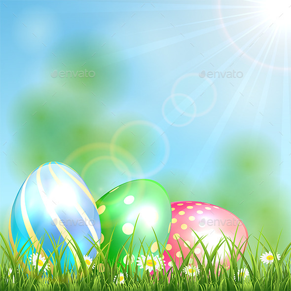 GraphicRiver Easter Background with Shiny Eggs 10796181