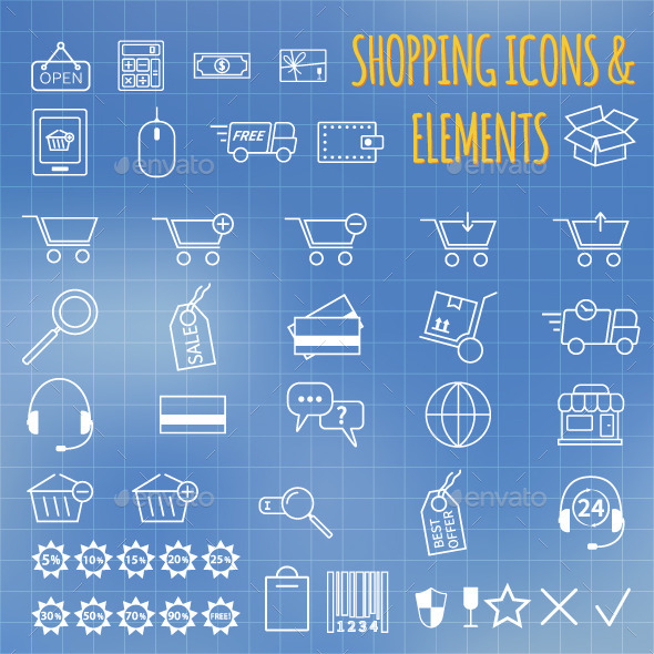 GraphicRiver Set of Shopping Icons 10779226