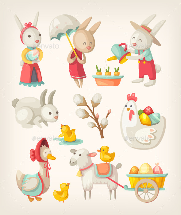 GraphicRiver Easter Animals 10796905