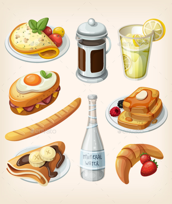 GraphicRiver Set Traditional French Breakfast Elements 10796923