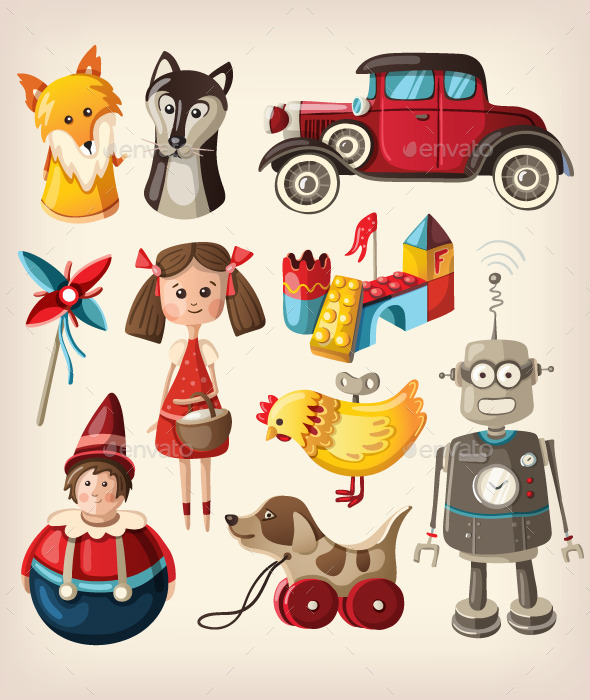 GraphicRiver Set of Colorful Vintage Toys 10796928