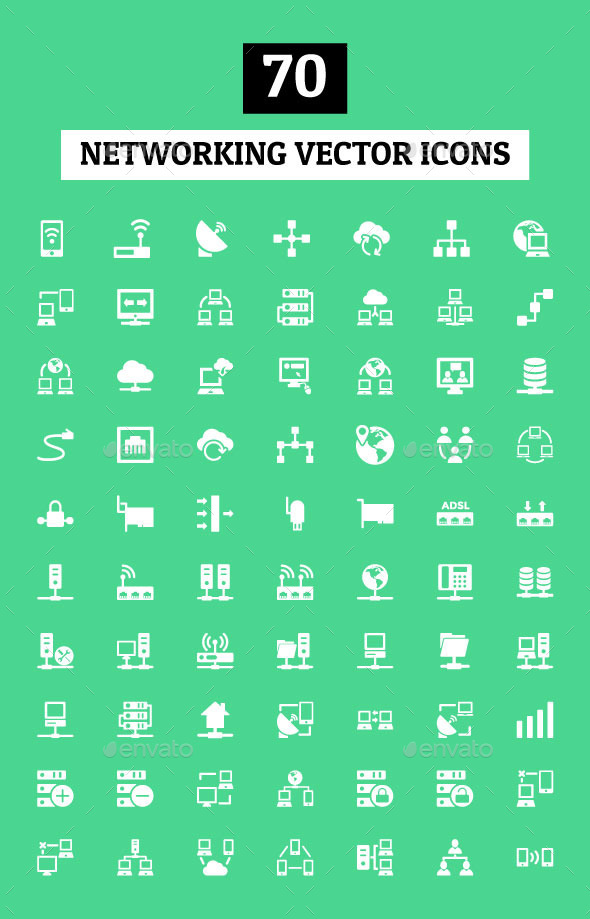 GraphicRiver 70 Networking Vector Icons 10796934