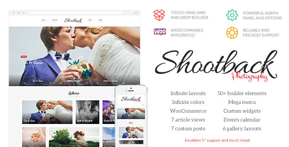 ThemeForest Shootback Retina Photography WordPress Theme 10697382