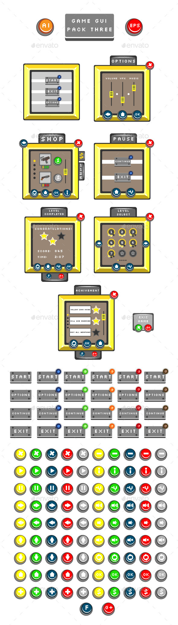 GraphicRiver Game GUI Pack Three 10797362