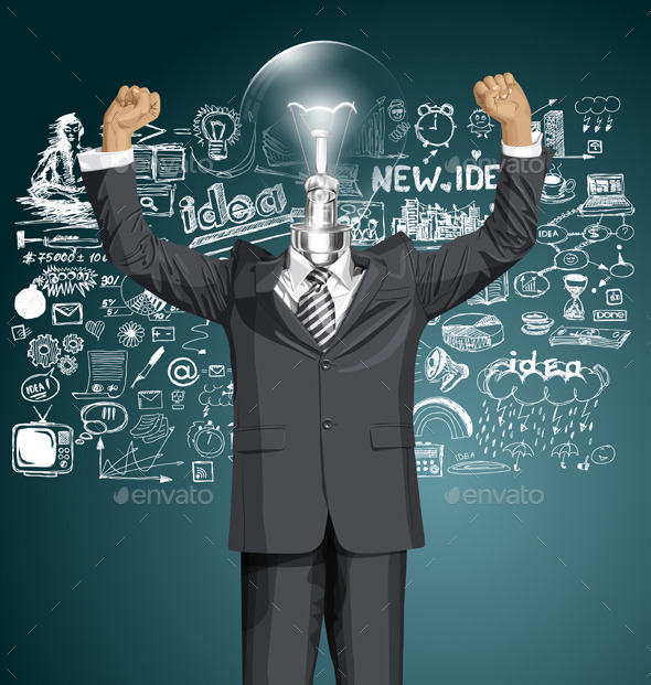 GraphicRiver Vector Lamp Head Businessman With Hands Up 10797408