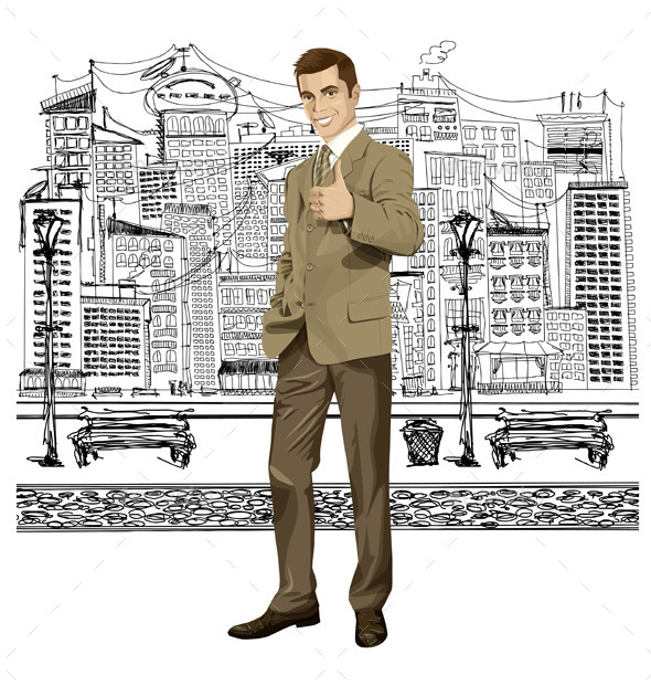 GraphicRiver Vector Business Man Shows Well Done 10797415