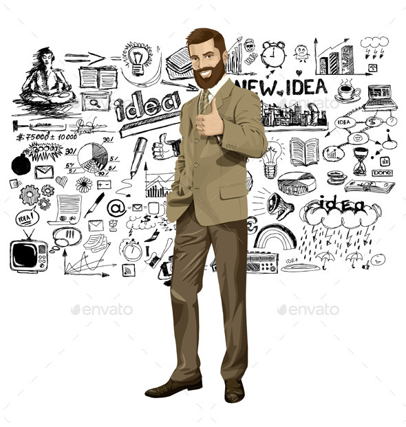 GraphicRiver Vector Business Man With Beard Shows Well Done 10797425
